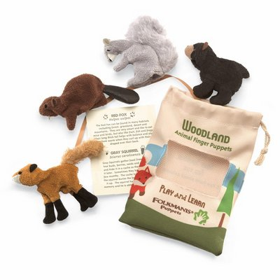 Folkmanis finger puppet woodland animal set